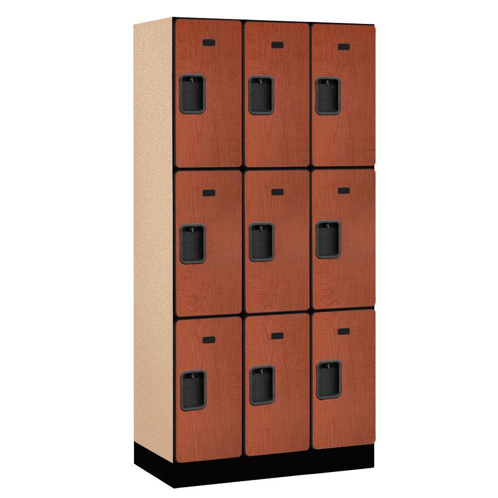 33000 Series 36 in. W x 76 in. H x 18 in. D 3-Tier Designer Wood Locker in Cherry
