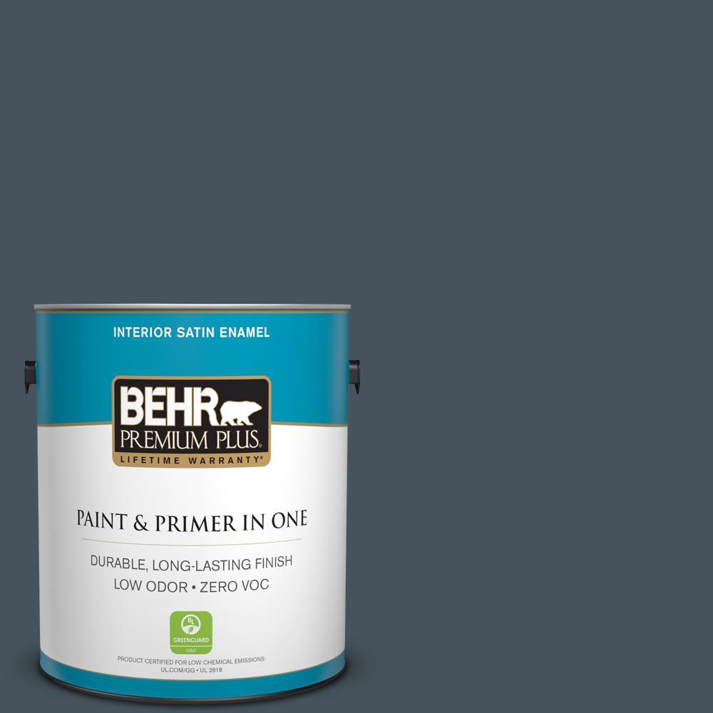 BEHR Premium Plus 1-gal. #BNC-40 Moody Black Satin Enamel Interior Paint