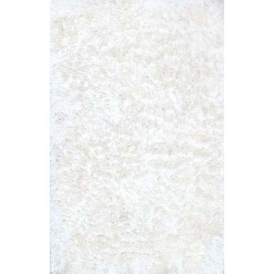 Latonia Silken Shaggy Pearl White 6 ft. x 9 ft. Area Rug