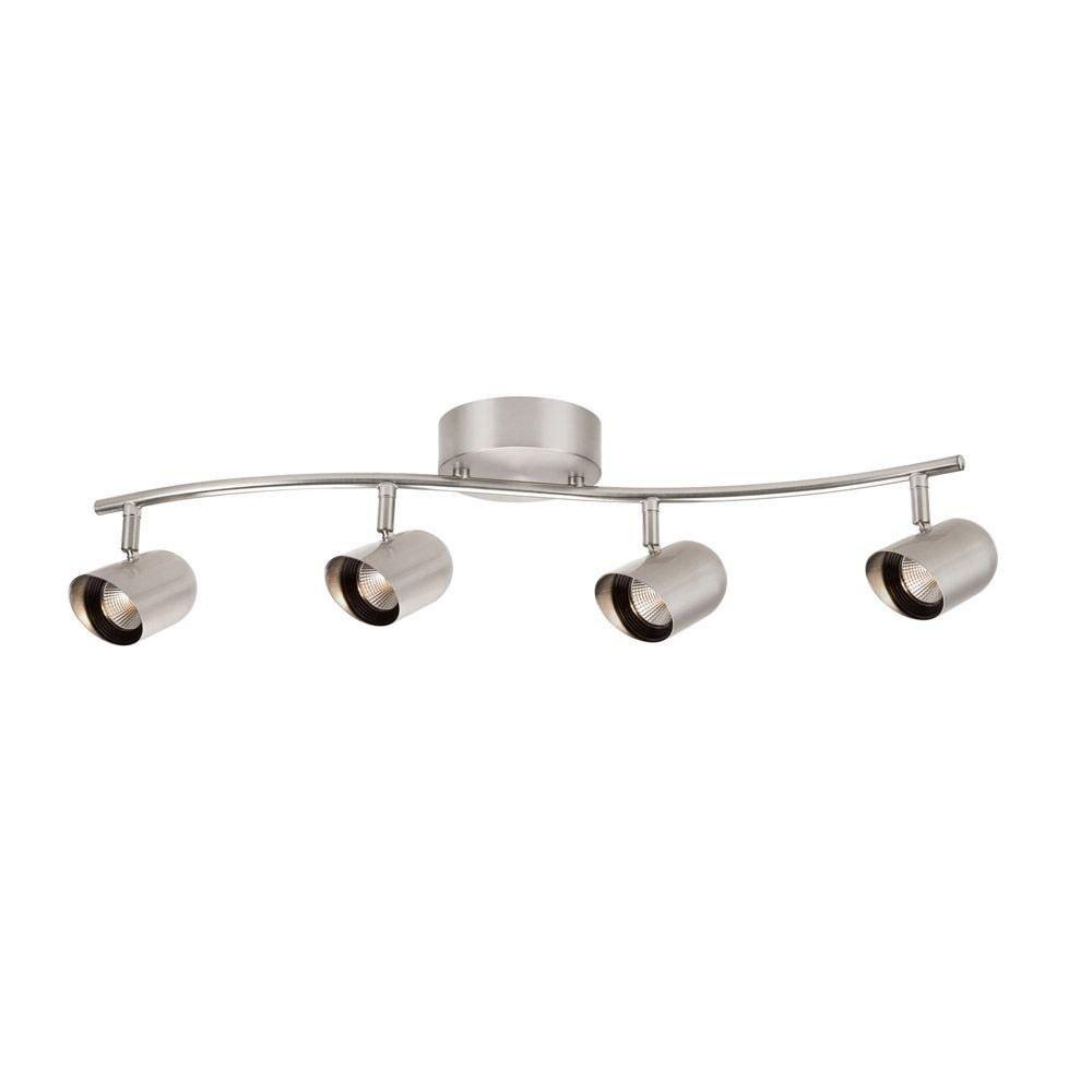 Hampton Bay 4 Light Brushed Nickel Led Dimmable Fixed Track Lighting Kit With Wave Bar