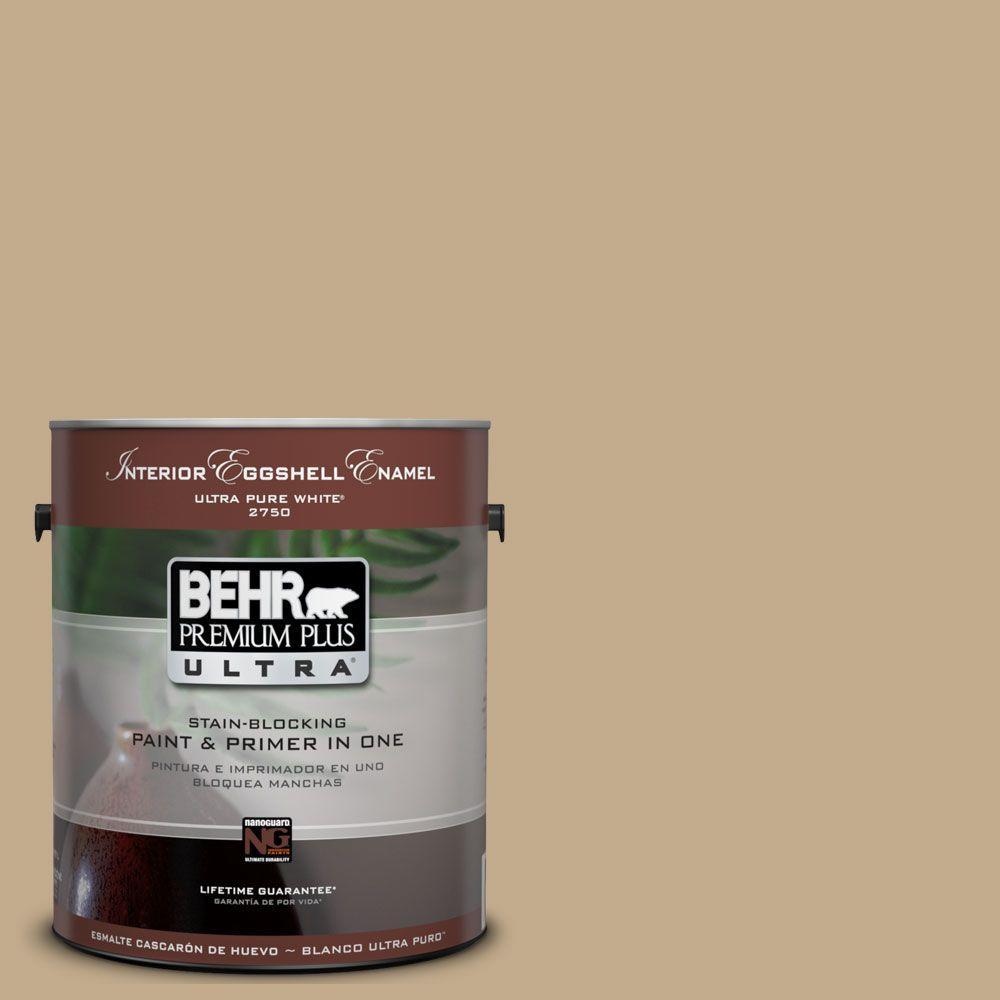 BEHR Premium Plus Ultra 1-Gal. #UL170-5 Woven Straw Interior Eggshell Enamel Paint