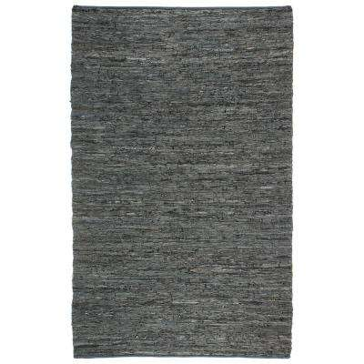 Black Leather 8 ft. x 10 ft. Area Rug