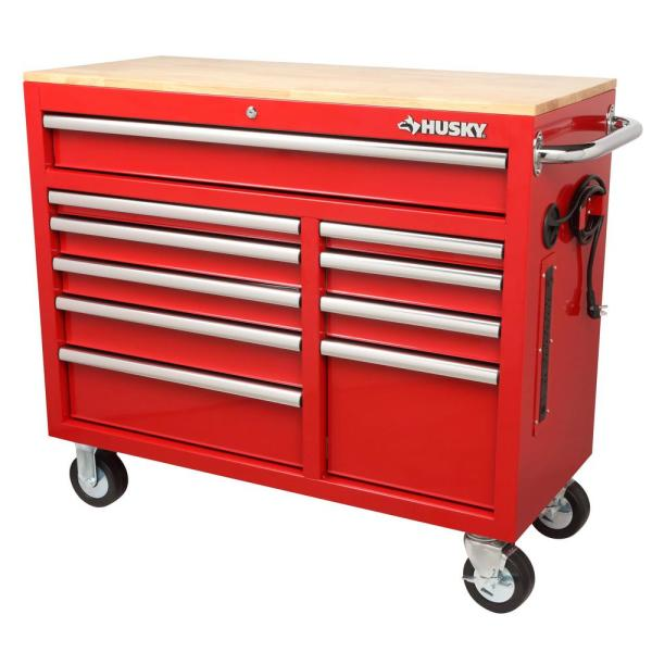Husky 42 In W X 18 1 In D 10 Drawer Mobile Workbench With Solid Wood Top In Red H42mwc10r Tl The Home Depot