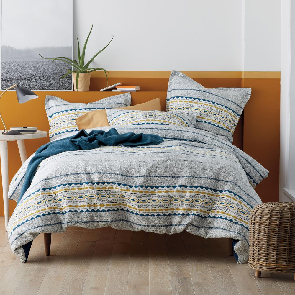 Etchings Multicolored Geometric Cotton Matelasse Twin Duvet Cover