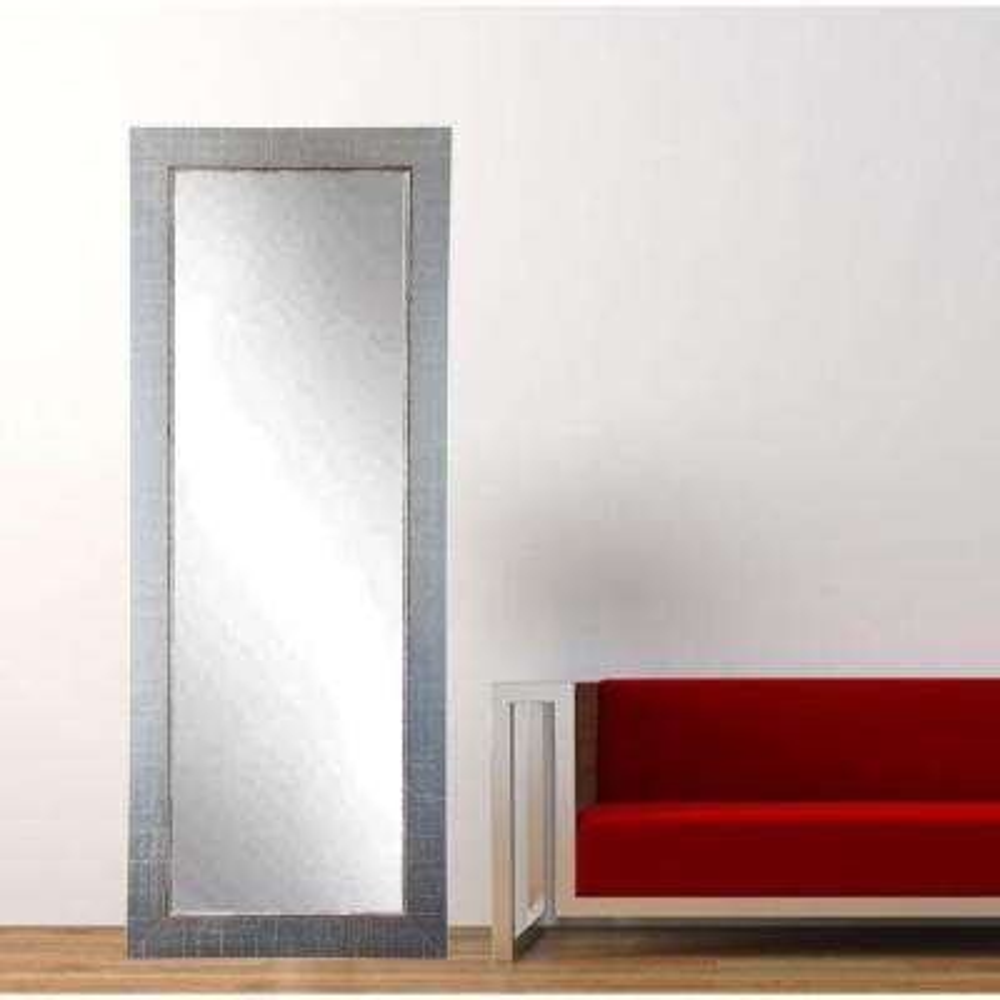 Aged Silver Lined Full Length Framed Mirror