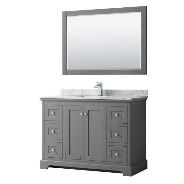 Avery 48 in. W x 22 in. D Bath Vanity in Dark Gray with Marble Vanity Top in White Carrara with White Basin and Mirror