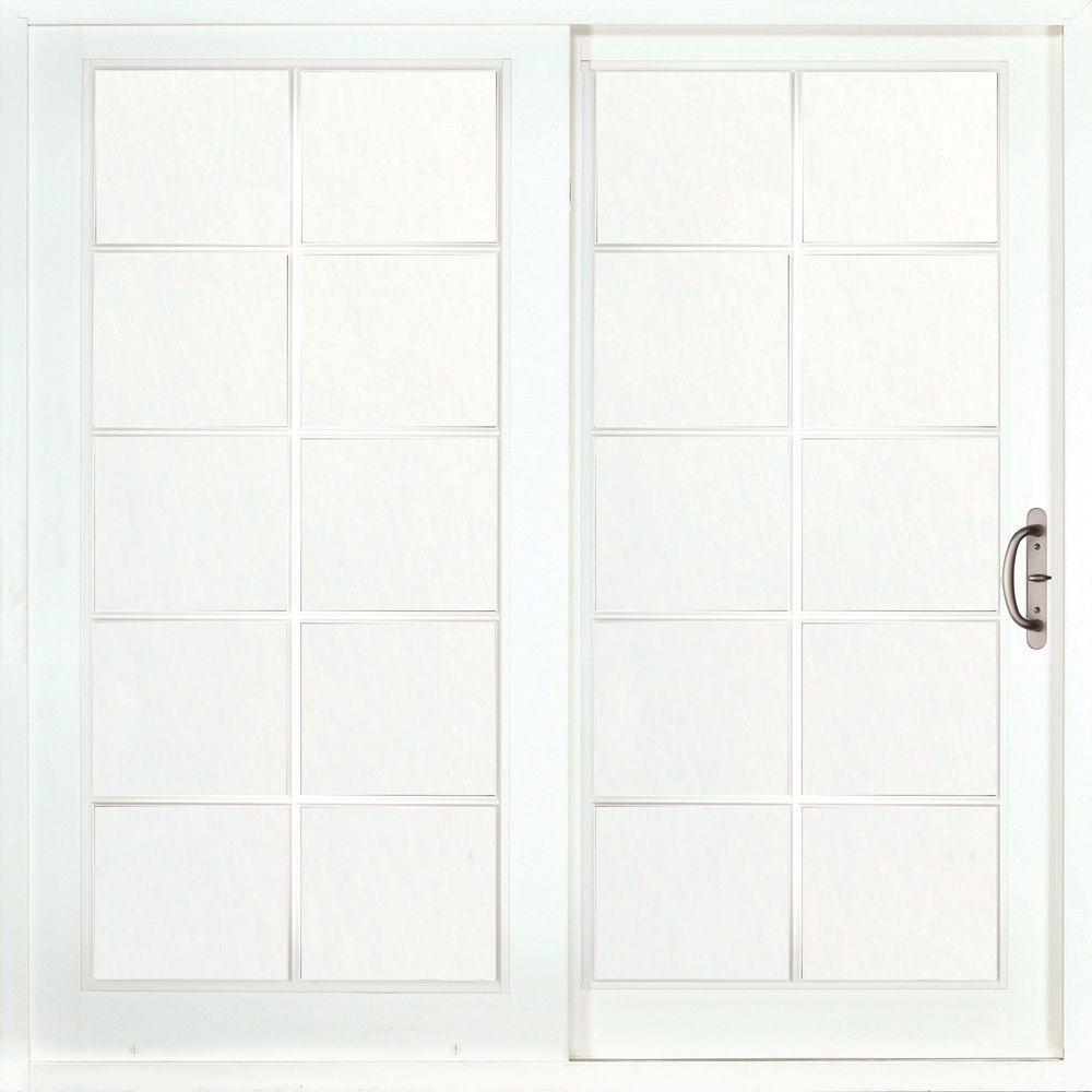 MP Doors 60 in. x 80 in. Woodgrain Interior and Smooth White Exterior Right-Hand Composite Sliding Patio Door with 10-Lite GBG