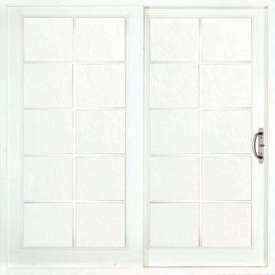 60 in. x 80 in. Woodgrain Interior and Smooth White Exterior Right-Hand Composite Sliding Patio Door with 10-Lite SDL