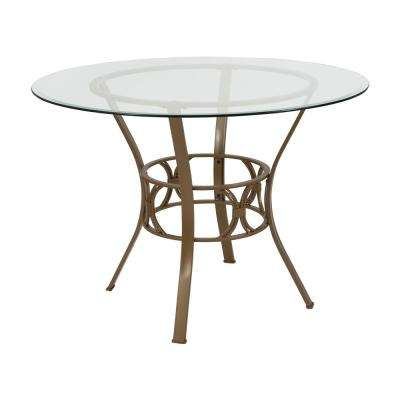Clear Top/Matte Gold Frame Dining Table