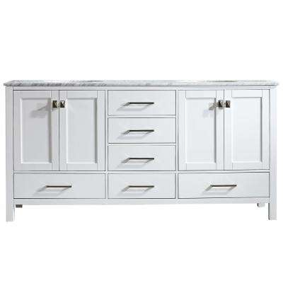 Gela 72 in. W x 22 in. D x 35 in. H Vanity in White with Marble Vanity Top in White with White Basin