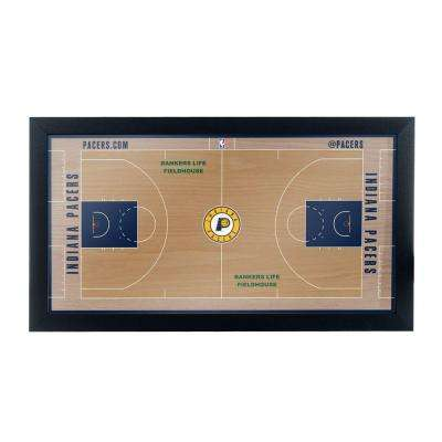 Indiana Pacers Official NBA Court 15 in. x 26 in. Black Framed Plaque