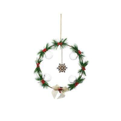T Battery Operated Christmas Pine And Berry Wreath With Timer