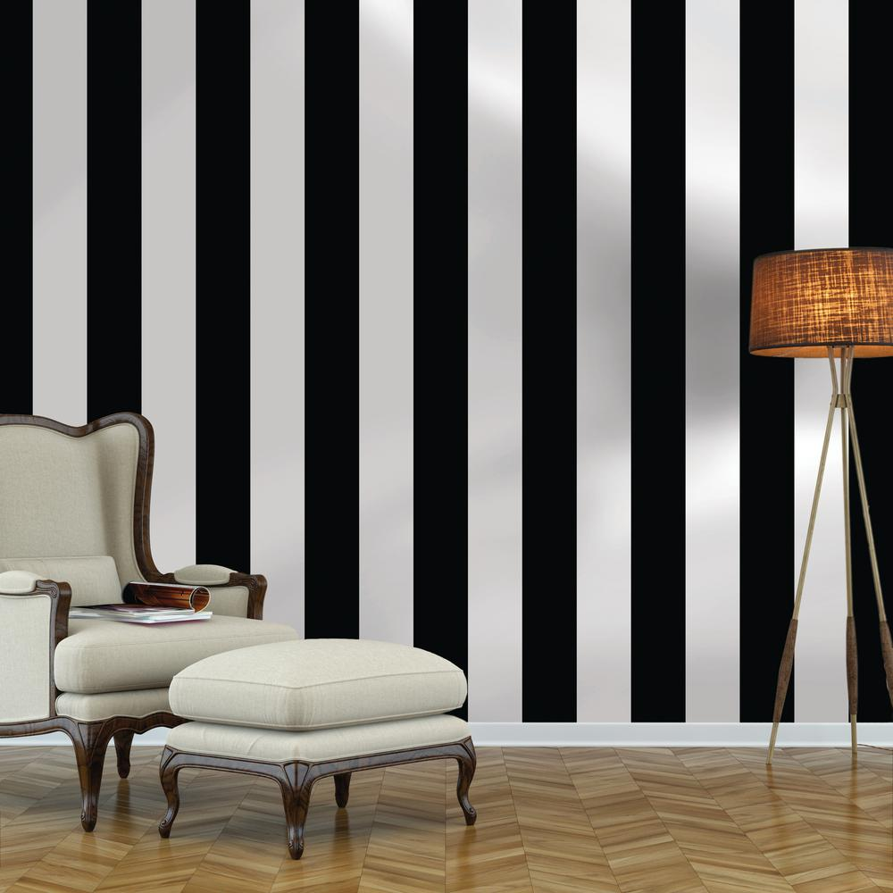 Repeel Black And White Stripe Removable Wallpaper