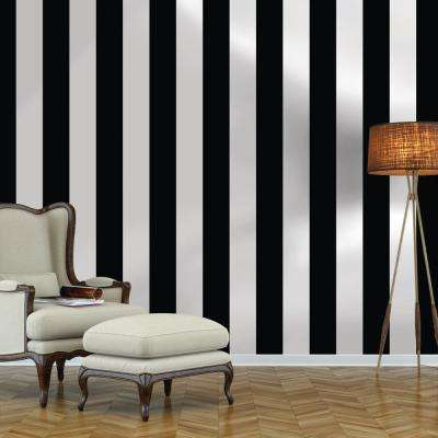 Black and White Stripe Repeel Removable Wallpaper