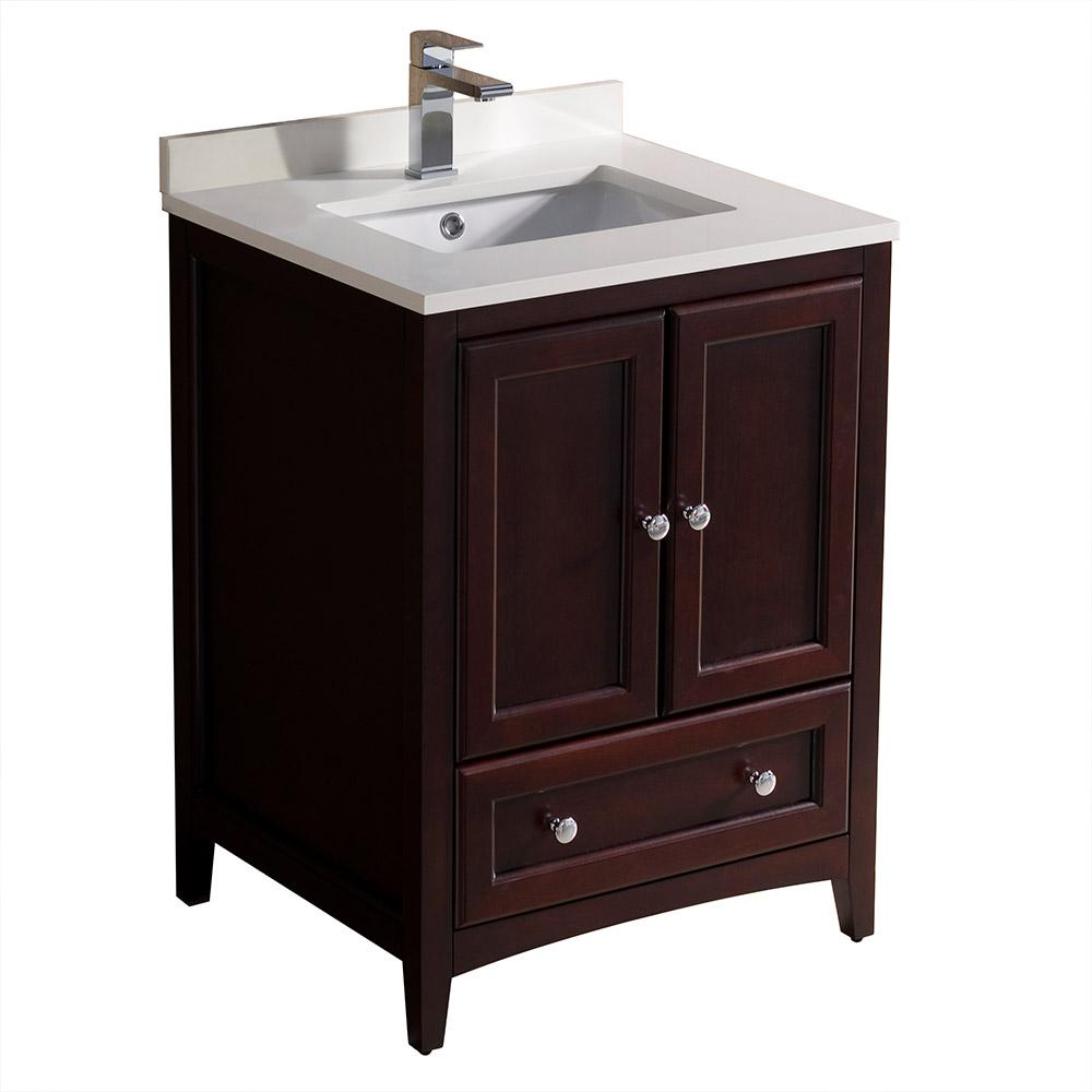 Quartz Bathroom Countertops Home Depot: Fresca Oxford 24 In. Bath Vanity In Mahogany With Quartz