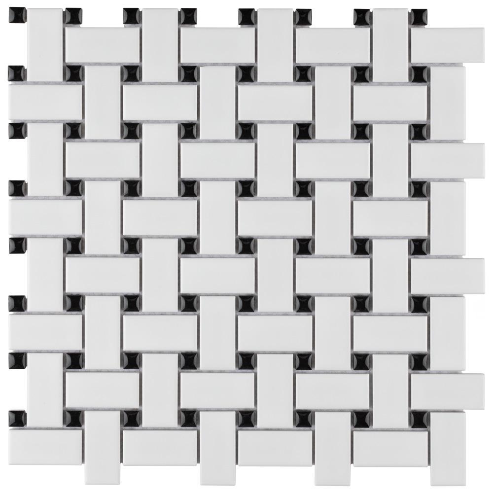 Metro Basketweave Matte White with Black Dot 11-3/4 in. x 11-3/4 in. Porcelain Mosaic Tile (19.58 sq. ft./Case)