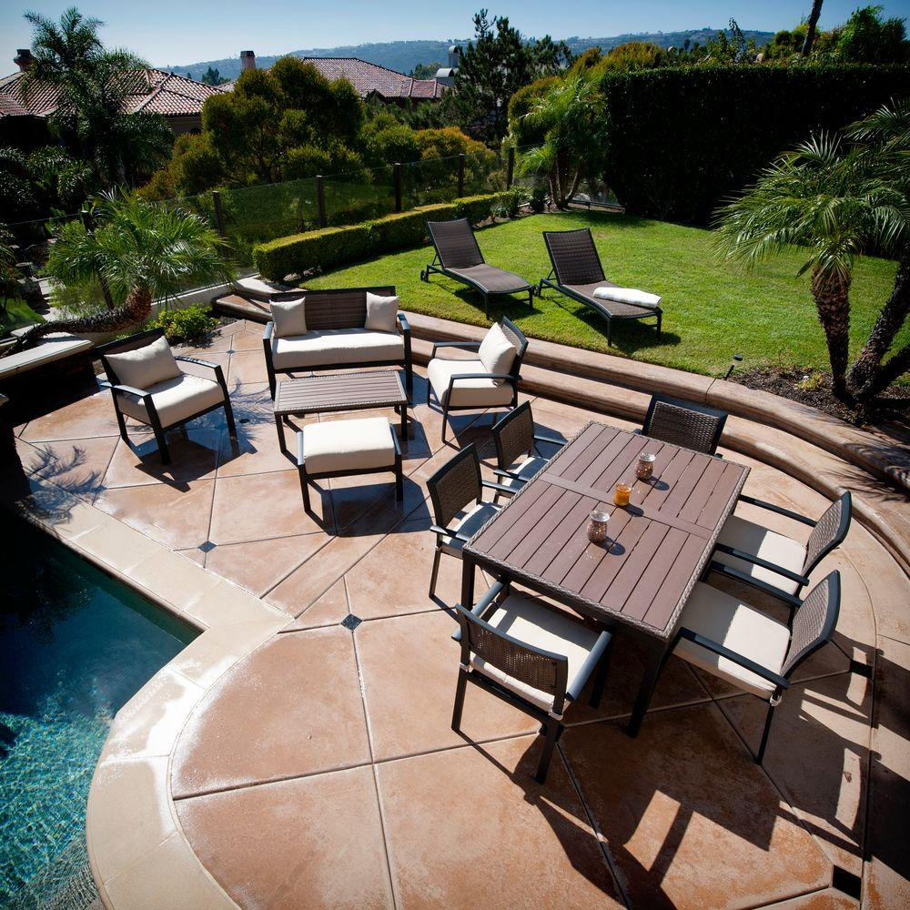 RST Brands Zen 14-Piece Patio Sanctuary Seating and Dining Set with Spectrum Sand Cushions