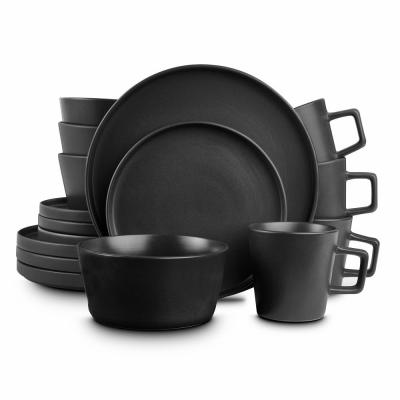 32-Piece Modern Black Matte Stoneware Dinnerware Set (Set for 8)