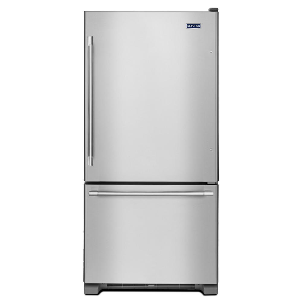 Maytag 19 cu. ft. Bottom Freezer Refrigerator in Fingerpr...