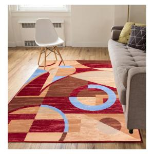 Miami Riga Circles Modern Geometric Red 8 ft. x 10 ft. Area Rug