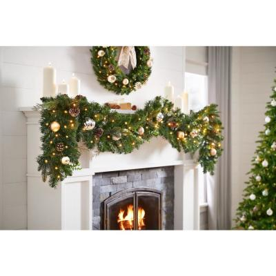 9 ft. St. Germain Battery Operated Mixed Pine LED Pre-Lit  Christmas Garland with Timer