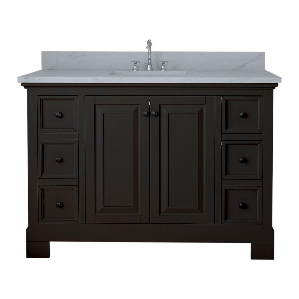 Alya Bath Richmond 48 in. W x 22 in. D Bath Vanity in Espresso with Marble Vanity Top in White with White Basin