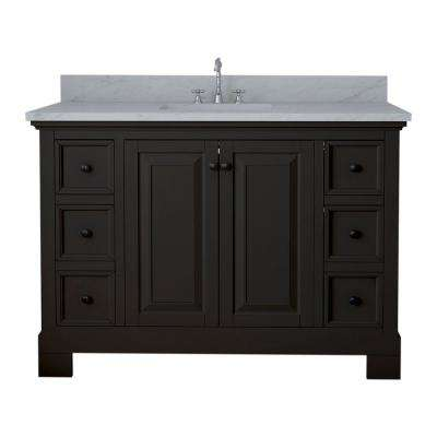 Richmond 48 in. W x 22 in. D Bath Vanity in Espresso with Marble Vanity Top in White with White Basin