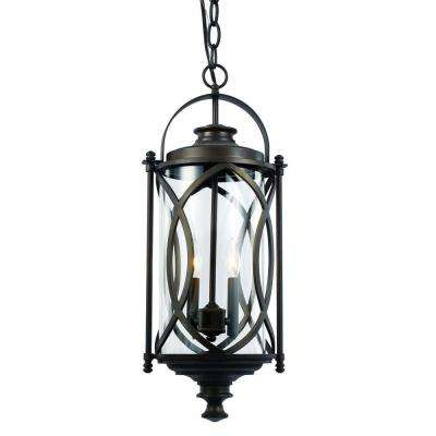2 Light Rubbed Oil Bronze Outdoor Crossover Hanging Lantern