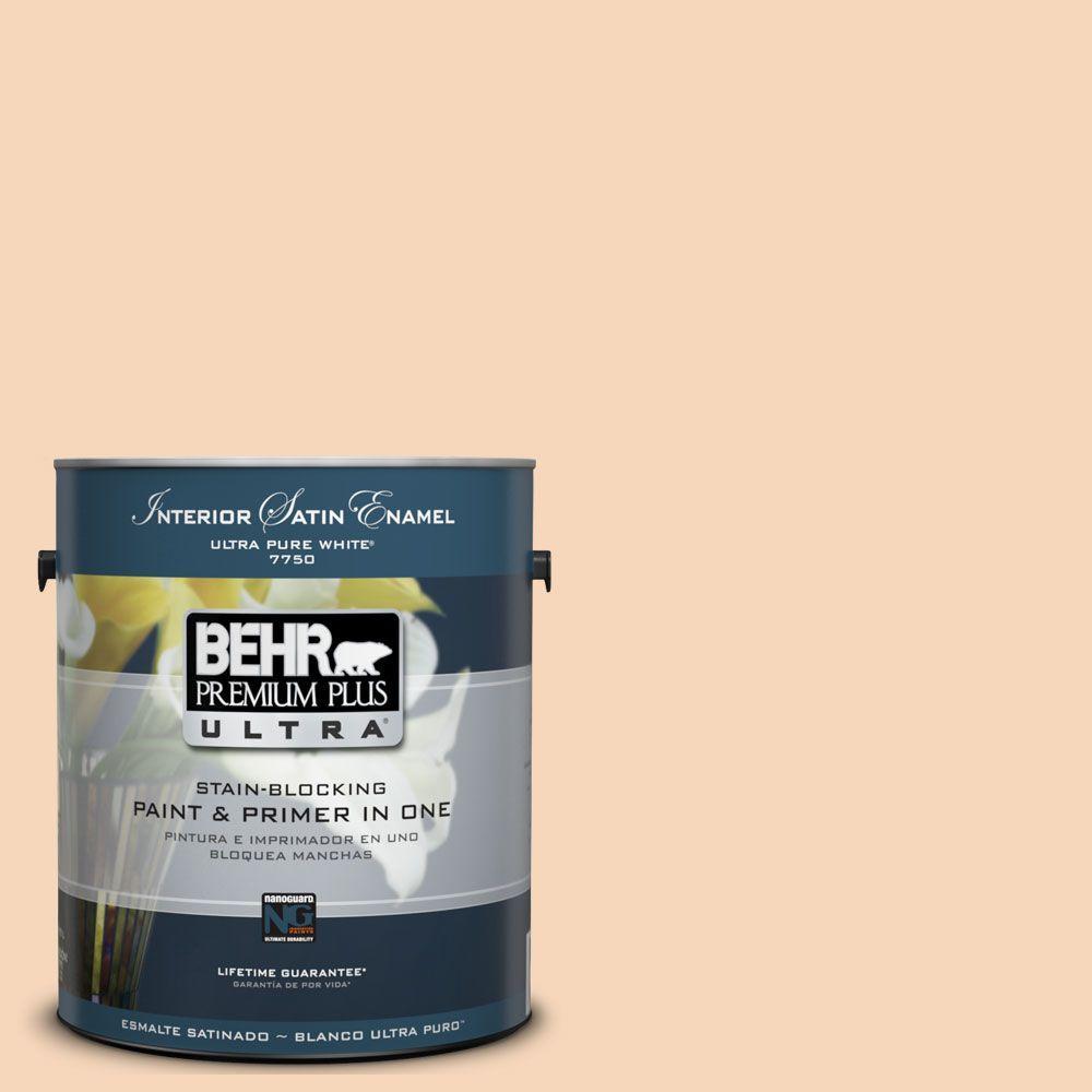 BEHR Premium Plus Ultra 1-Gal. #UL120-12 Porcelain Peach Interior Satin Enamel Paint