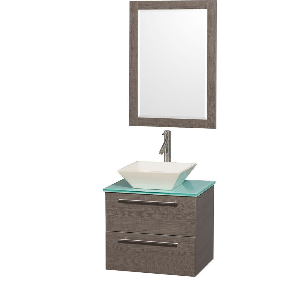 Wyndham Collection Amare 24 in. Vanity in Grey Oak with Glass Vanity Top in Aqua and Bone Porcelain Sink