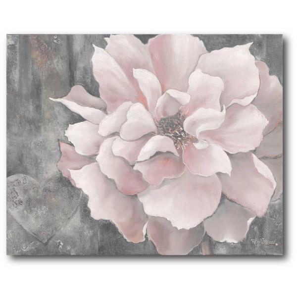 16 in. x 20 in. ''Pink and Gray Magnolia'' Canvas Wall Art
