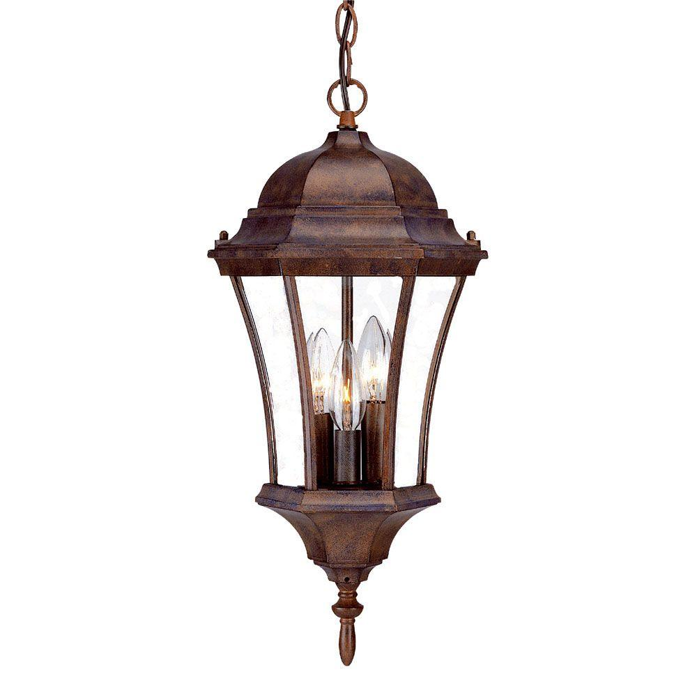 Brynmawr Collection Hanging Lantern 3 Light Outdoor Burled Walnut Light  Fixture Part 37