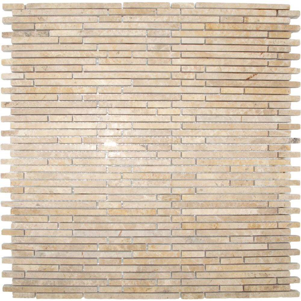 MS International Crema Ivy Bamboo 12 in. x 12 in. x 10 mm Honed Marble Mesh-Mounted Mosaic Tile