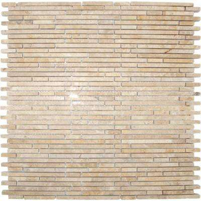 Crema Ivy Bamboo 12 in. x 12 in. x 10 mm Honed Marble Mesh-Mounted Mosaic Tile