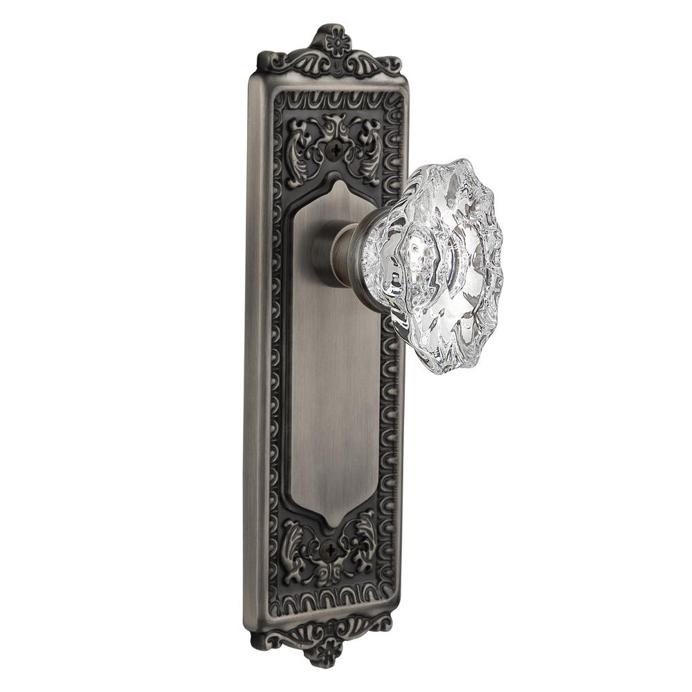 Egg and Dart Plate 2-3/8 in. Backset Antique Pewter Privacy Chateau