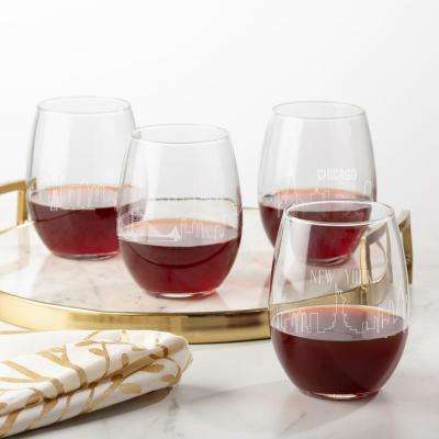 American Cityscapes 21 oz. Stemless Wine Glasses (4-Pack)