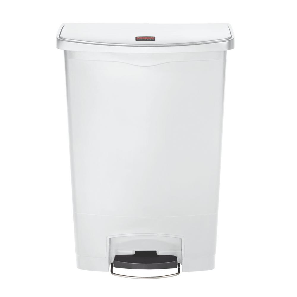 Slim Jim Step-On 24 Gal. White Plastic Front Step Trash Can