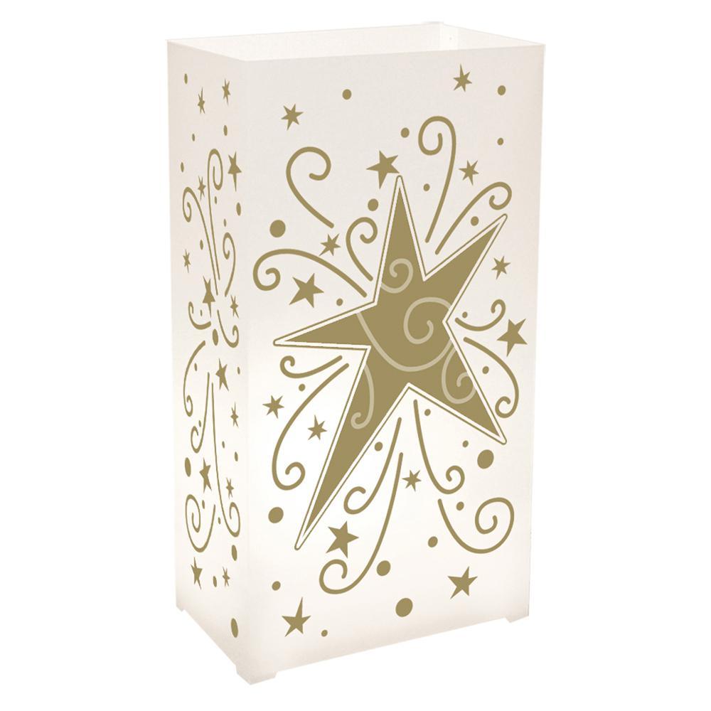 3.5 x 10.5 Star Swirl Plastic Luminary (100- Pack)