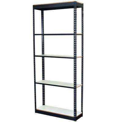 84 in. H x 36 in. W x 24 in. D 5-Shelf Steel Boltless Shelving Unit with Low Profile Shelves and Laminate Board Decking