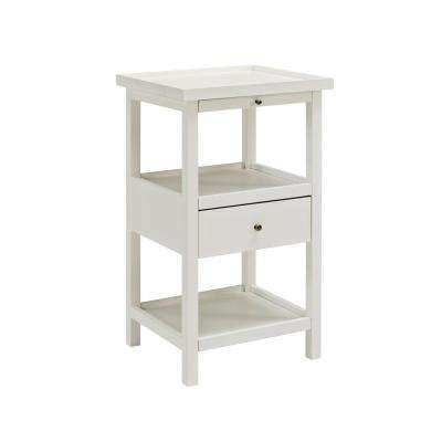 Palmer White Table with Shelf
