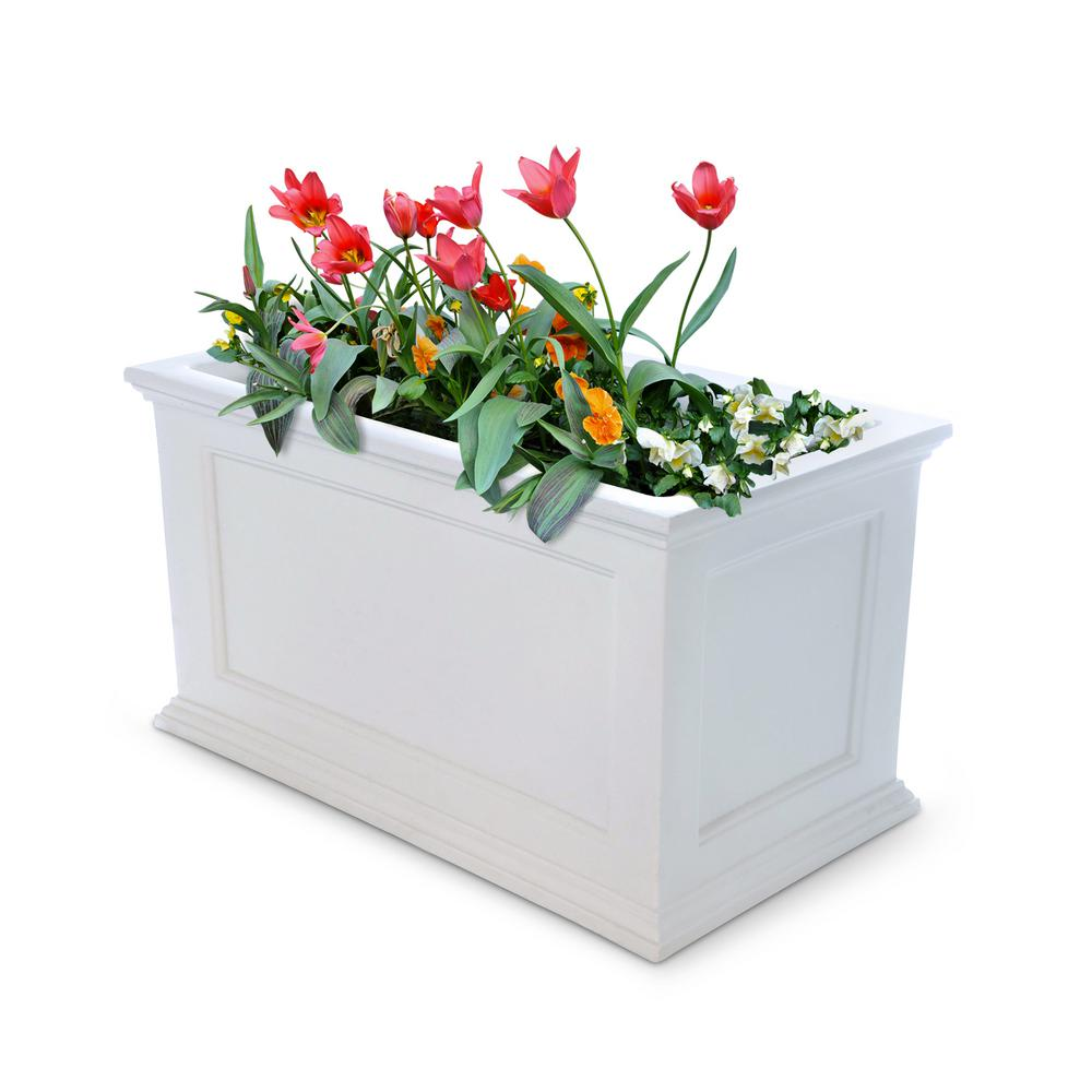 Square Planter White 20 in Vinyl Bead Board Weather Resistant Outdoor Garden Box