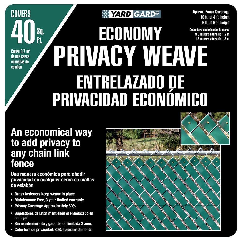 YARDGARD 4 ft. H x 250 ft. W Green Economy Vinyl Fence Weave ...