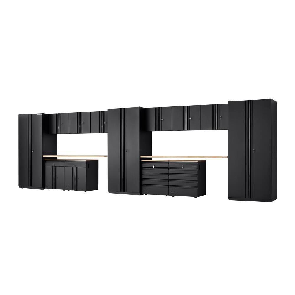 Heavy Duty Welded 276 in. W x 81 in. H x 24 in. D Steel Garage Cabinet Set in Black (15-Piece)