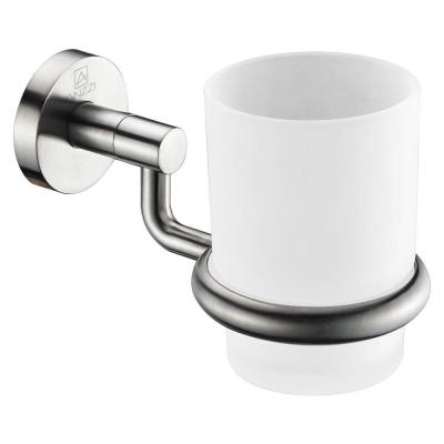 Caster Series 7.01 in. Toothbrush Holder in Brushed Nickel