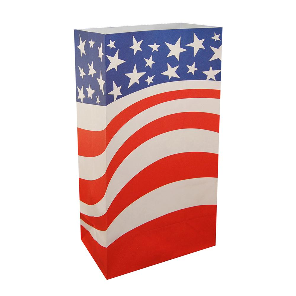Americana Flag Flame Resistant Luminaria Bags (Set of 12)