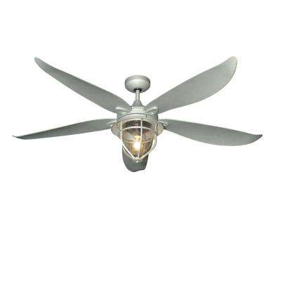 St. Augustine 59 in. Indoor/Outdoor Galvanized-Look Ceiling Fan with Light and Remote Control