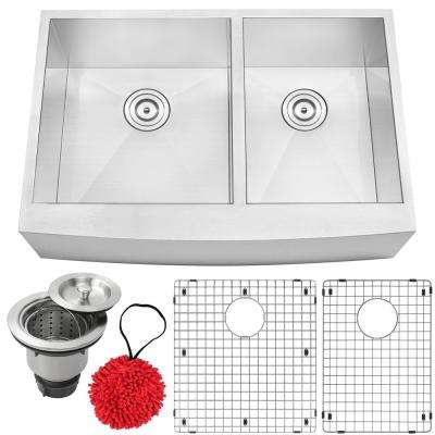 Bryce Zero Radius Farmhouse Apron Front 16-Gauge Stainless Steel 33 in. Double Basin Kitchen Sink with Accessory Kit