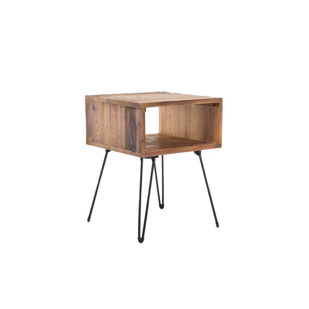 Turner Reclaimed Wood Natural Brown Side Table