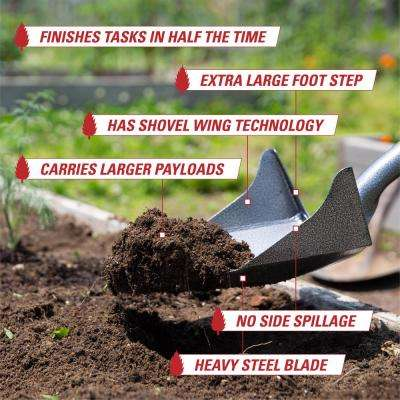 """43 in. One Shot Shovel with """" WINGS """" and Extra Large Footstep by Root Assassin Garden Tools"""