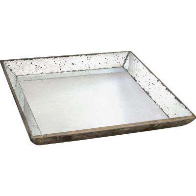 20 in. x 20 in. Decorative Glass Tray in Rustic White